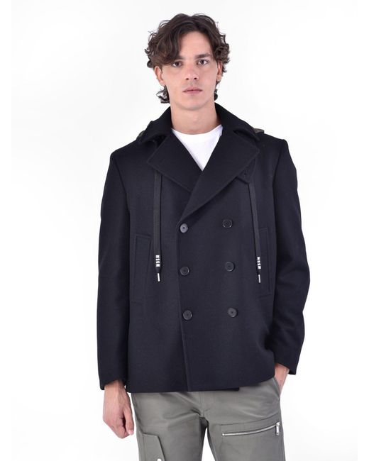 MSGM - Blue Wool Blend Coat for Men - Lyst