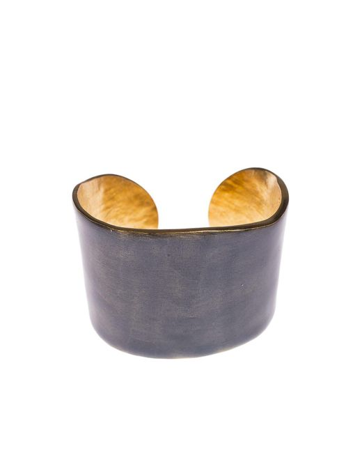 LITTLE WOMAN PARIS | Metallic Gold Metal And Blue Resin Bangle | Lyst