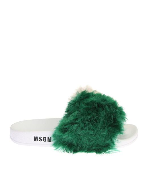 MSGM | Green Rubber Sandals With Fur | Lyst