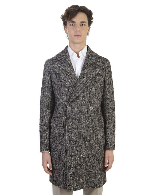 Tagliatore - Gray Wool Microtextured 3/4 Coat for Men - Lyst