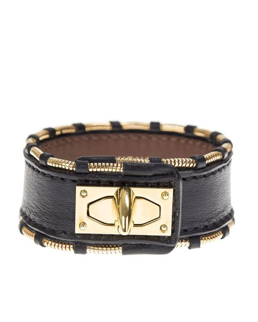 Givenchy - Metallic Leather And Gold Metal Shark Bracelet - Lyst
