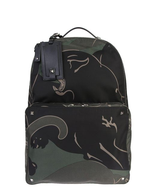 Valentino   Panther Printed Bleck Ang Green Nylon Backpack for Men   Lyst