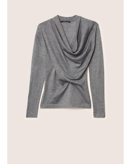 Derek Lam | Gray Long Sleeve Sweater With Drape Front | Lyst