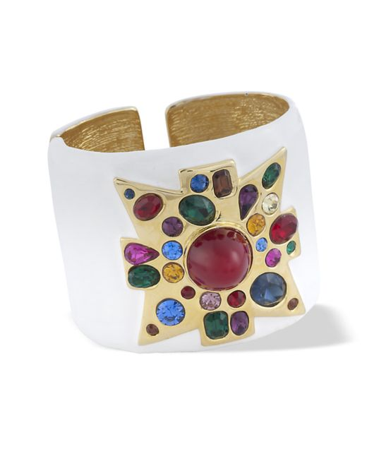 Kenneth Jay Lane | White Enamel Maltese Cross Cuff | Lyst