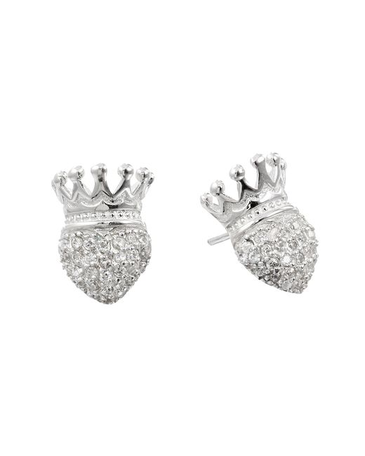 King Baby Studio | Metallic Crowned Heart Post Earring Pave Cz | Lyst