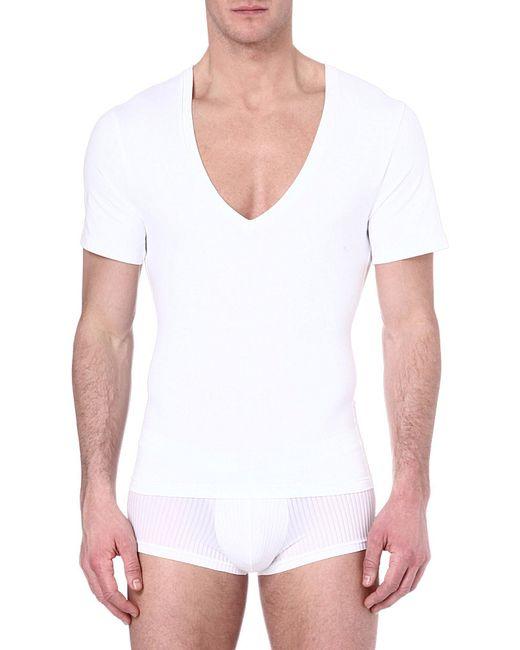 Spanx Deep V Neck T Shirt In White For Men Lyst