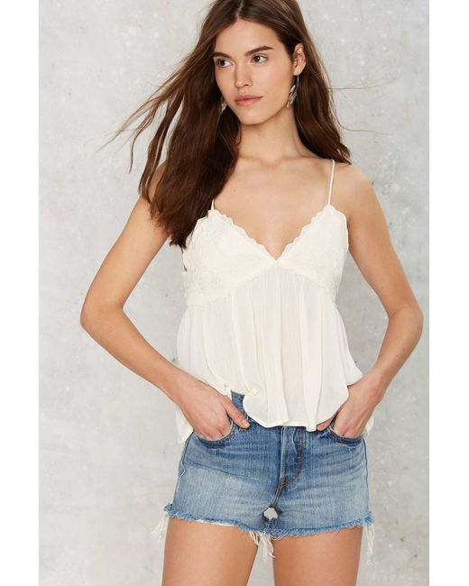 Nasty Gal | White Cliffside Embroidered Cami Top | Lyst