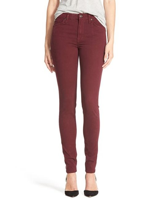 7 For All Mankind | Red Brushed Sateen Skinny Pants | Lyst