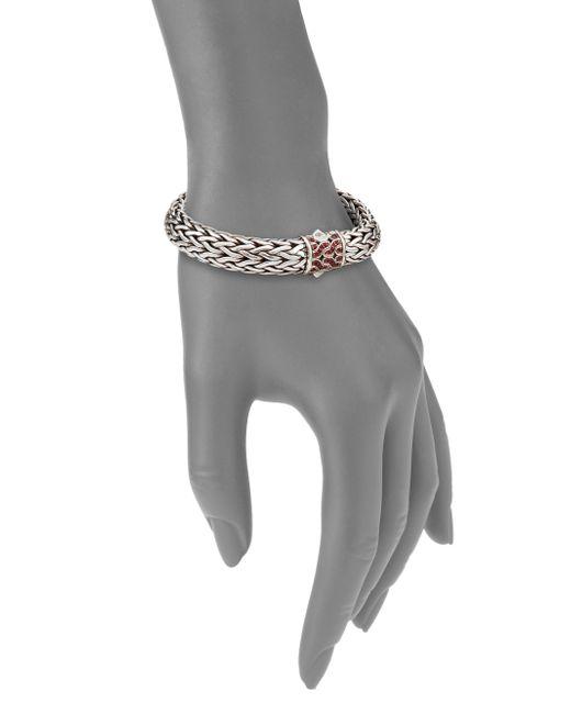 John Hardy | Metallic Classic Chain Red Sapphire & Sterling Silver Large Bracelet | Lyst