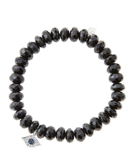 Sydney Evan | 8Mm Faceted Black Spinel Beaded Bracelet With 14K White Gold/Diamond Medium Hamsa Charm (Made To Order) | Lyst