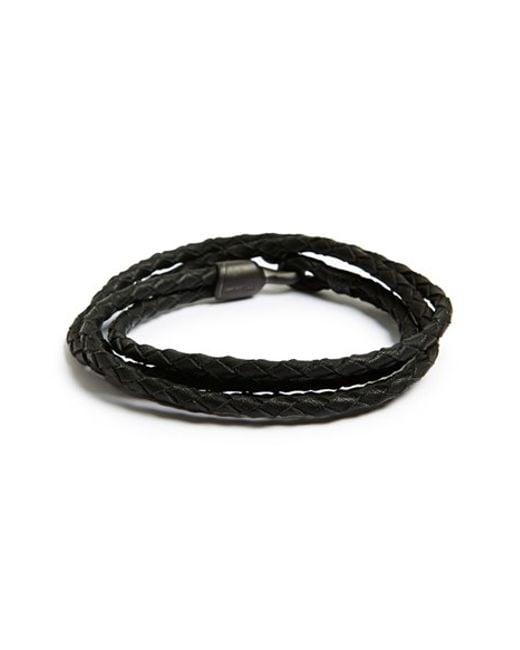 Miansai | Black 'trice Noir' Braided Leather Wrap Bracelet for Men | Lyst