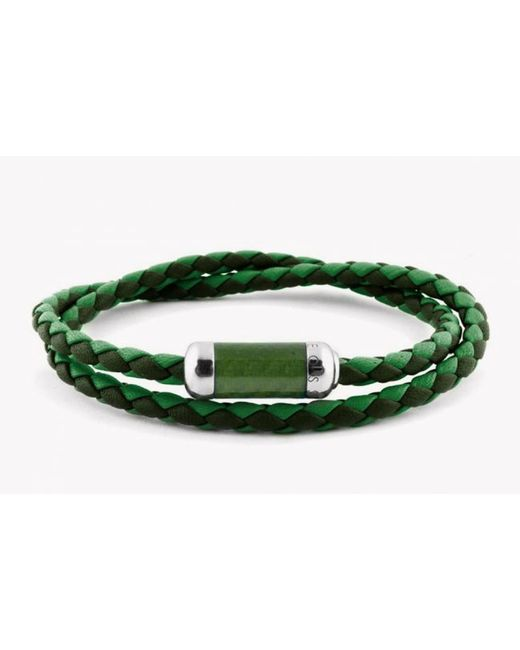 Tateossian | Montecarlo Bracelet In Green Leather With Silver And Enamel Clasp for Men | Lyst