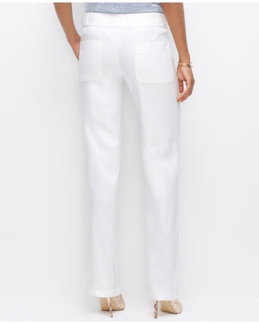 Ann taylor Linen Blend Drawstring Pants in White | Lyst
