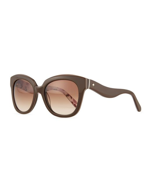 Kate Spade | Brown Amberly Wavy-arm Plastic Sunglasses | Lyst