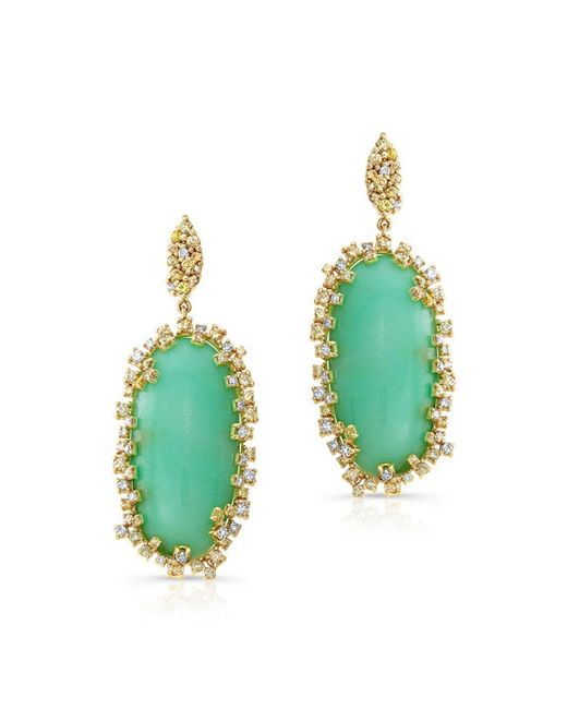 Anne Sisteron - Green 18kt Yellow Gold Chrysoprase Diamond Luxe Earrings - Lyst