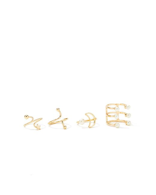 Forever 21   Metallic Caged Faux Pearl Ring Set   Lyst