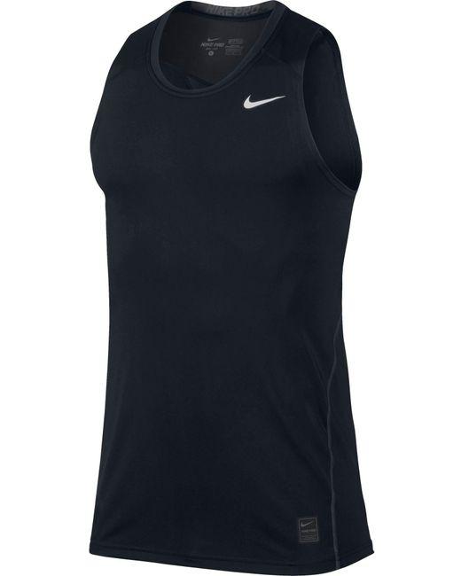 nike pro cool sleeveless shirt in black for men lyst