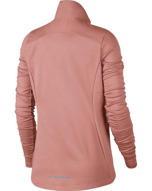 10276b1b1a92 ... Nike - Pink Essential Full Zip Running Jacket - Lyst