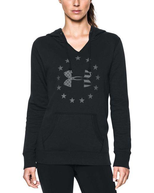 Under Armour - Black Freedom Logo Favorite Fleece Hoodie - Lyst