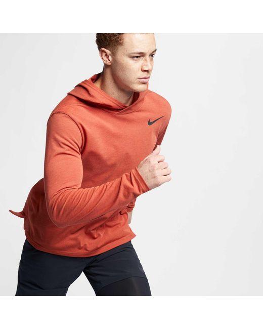 4bd7cb48 ... Nike - Red Hyper Dry Hooded Long Sleeve Tee for Men - Lyst