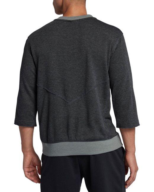 68043c44311b0 ... Nike - Gray 3 4 Fleece Crew Flux Baseball Shirt for Men - Lyst ...