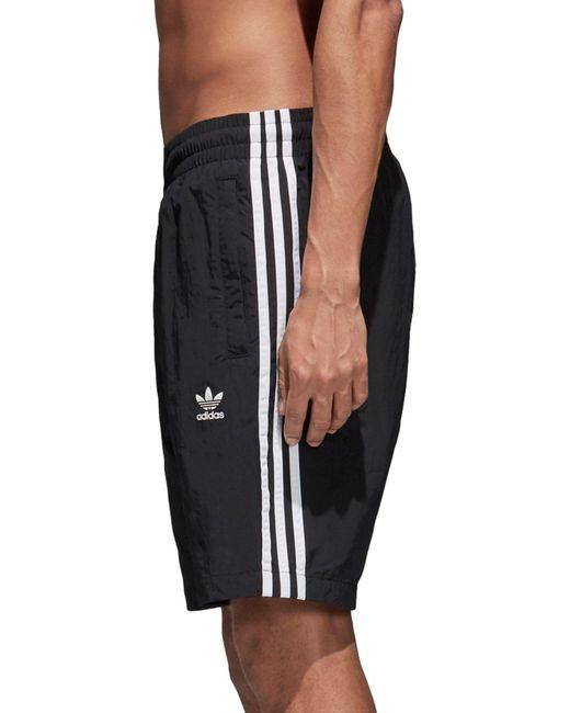1c3d934a0f Adidas - Black Originals 3-stripes Swim Shorts for Men - Lyst ...