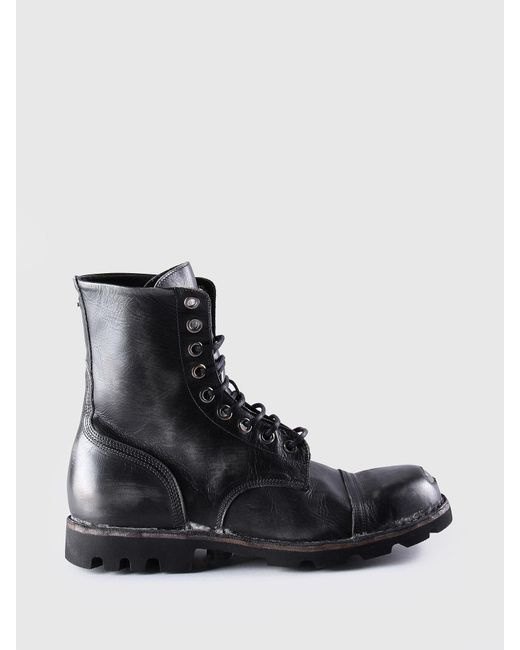 DIESEL - Black Boots In Sturdy Treated Leather for Men - Lyst