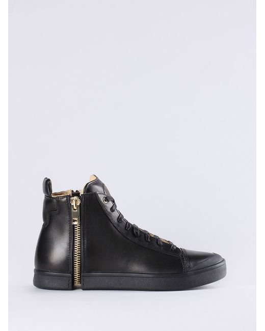 DIESEL | D-kallien Black Side-zip Tip Toe Laced Boots for Men | Lyst