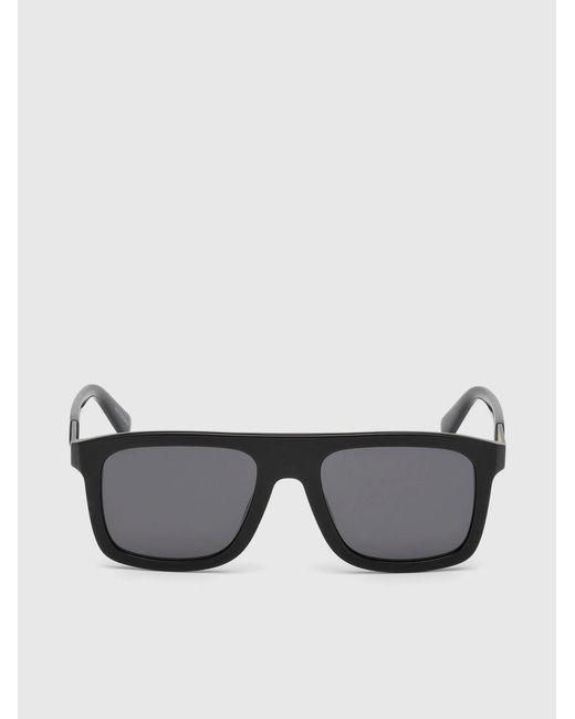 DIESEL - Black Square Eyewear With Metal Plaque for Men - Lyst