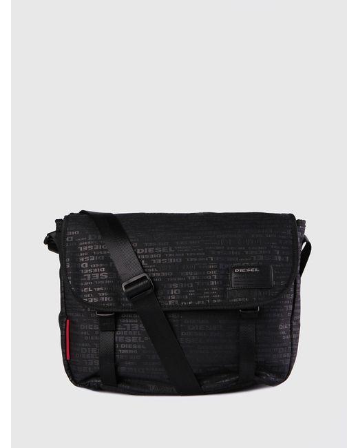 DIESEL - Black Cross Body Bag With Allover Logo for Men - Lyst