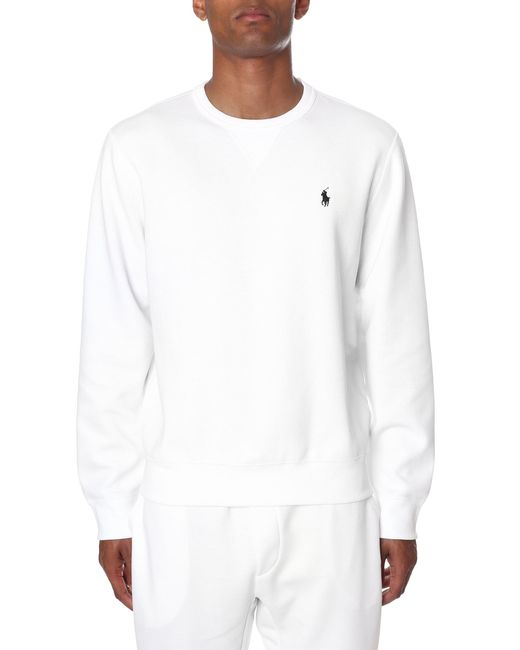8efa7400b5d9f Polo Ralph Lauren - Men s Crew Neck Pullover Sweat Top White for Men - Lyst  ...