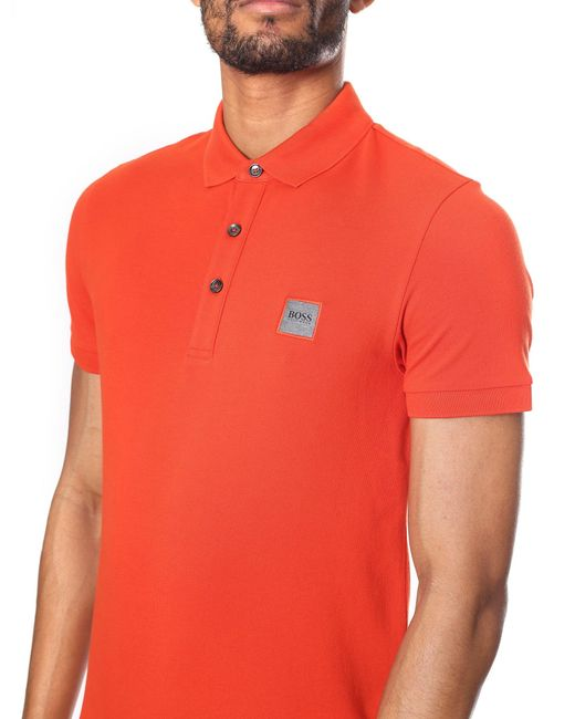 d57eebc50 ... BOSS by Hugo Boss - Passenger Men's Slim Fit Polo Top Dark Green Dark  Orange for ...