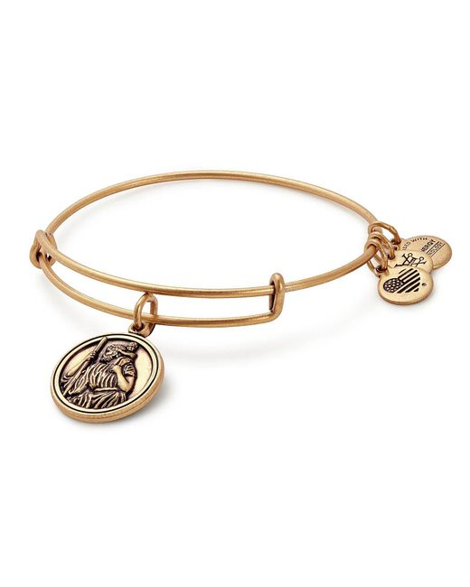 ALEX AND ANI - Metallic Saint Christopher Charm Bangle Bracelet - Lyst