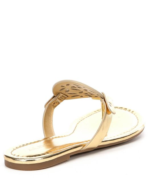 cfe8ce2df002 Lyst - ALDO Cheivia Metallic Leather Laser-cut Thong Sandals in Metallic