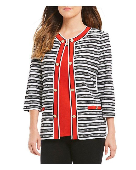 Misook - Multicolor Jewel Neck Double Button Jacket - Lyst