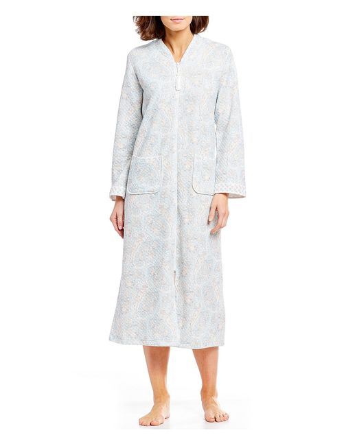 Miss Elaine - Multicolor Quilted Knit Paisley-print Zip-front Long Robe - Lyst