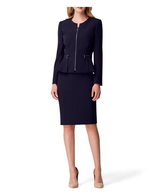 Tahari Blue Stretch Crepe Zip-front Pleated Peplum Jacket 2-piece Skirt Suit
