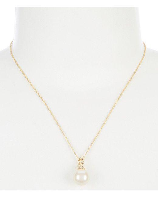 Kate Spade - Metallic Mini Pearl Pendant Necklace - Lyst