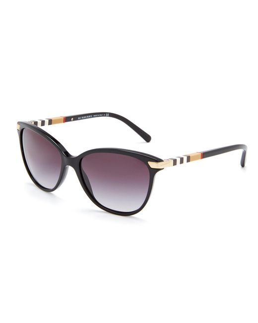 Burberry - Black Heritage Color Block Square Check Cat Eye Sunglasses - Lyst