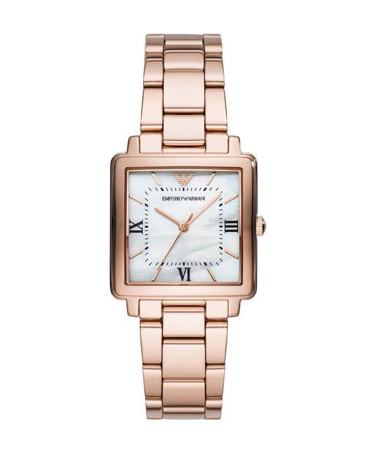 Emporio Armani - Pink Modern 30mm X 30mm Square Rose Gold Bracelet Watch - Lyst