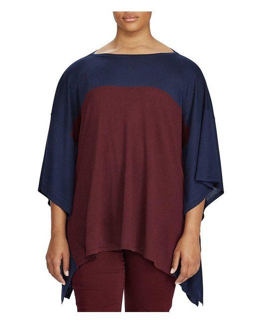 Lauren by Ralph Lauren | Blue Plus Color-blocked Silk-blend Poncho | Lyst
