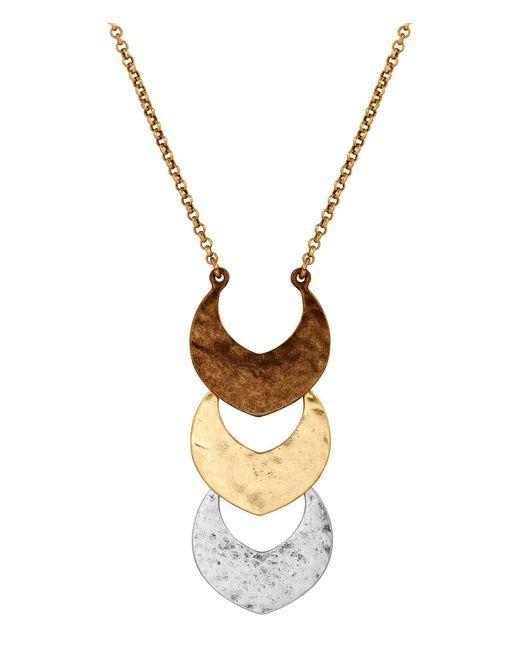 Lucky Brand - Metallic Tri-tone Linear Pendant Necklace - Lyst
