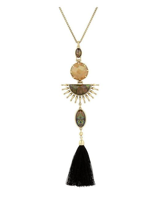 Lucky Brand   Metallic Tasseled Sunburst Pendant Necklace   Lyst