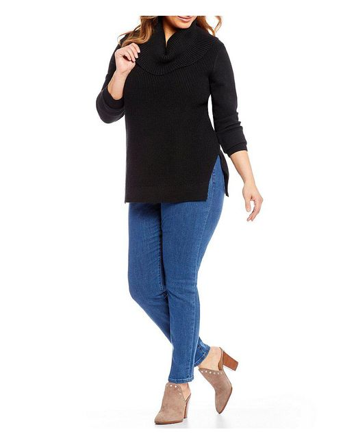 Michael michael kors Plus Shaker Stitch Cowl Neck Sweater in Black ...