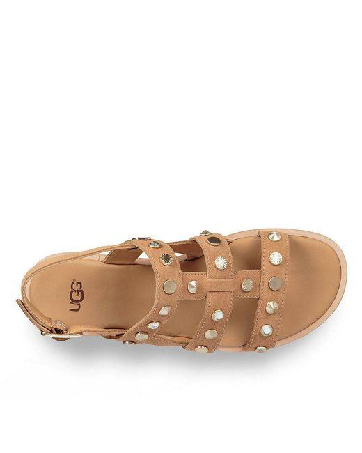 UGG® Zariah Suede Crystal and Metal Stud Detail Sandals WlczvT