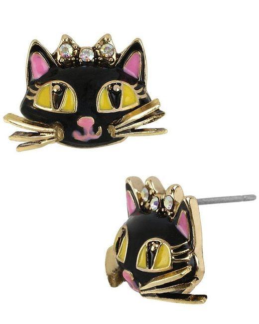 Betsey Johnson | Black Cat Stud Earrings | Lyst