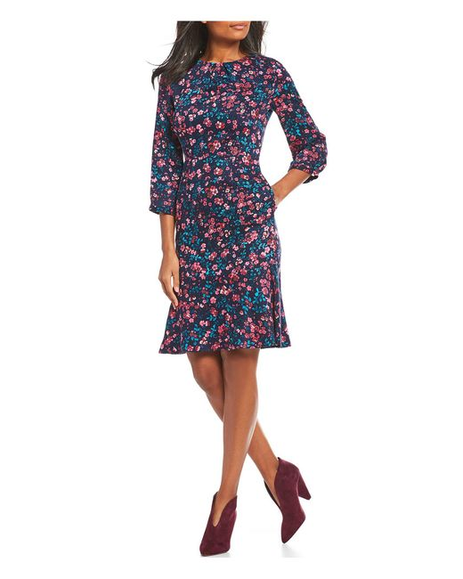 Joules - Blue Roselda Ditsy Floral Print Fluted Hem 3/4 Sleeve Woven A-line Dress - Lyst
