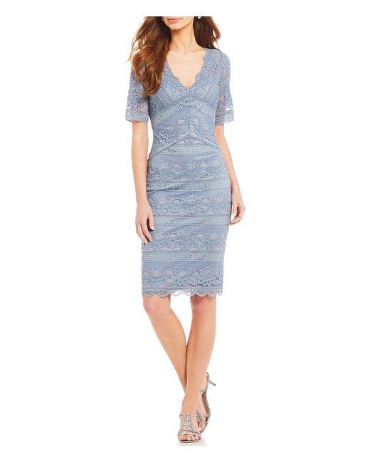a1511dc0617 Adrianna Papell - Blue V Neck Lace Sheath Dress - Lyst ...
