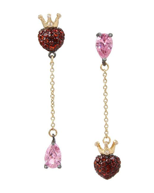 Betsey Johnson | Pink Crowned Heart Mismatched Drop Earrings | Lyst