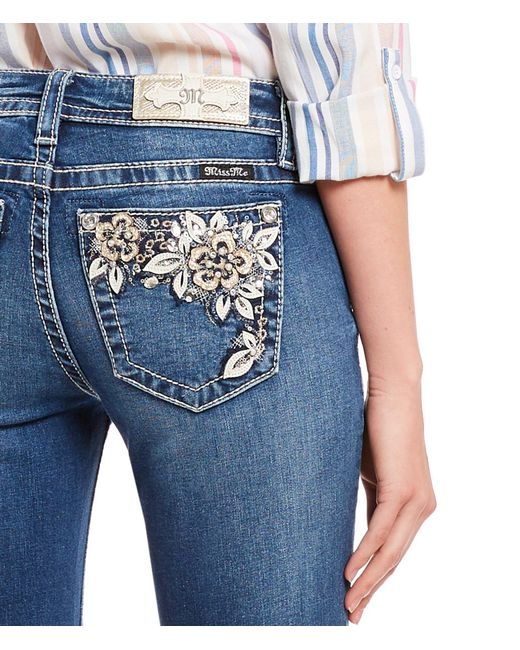 3f9c024bf2d ... Miss Me - Blue Floral Pocket Capri Jeans - Lyst